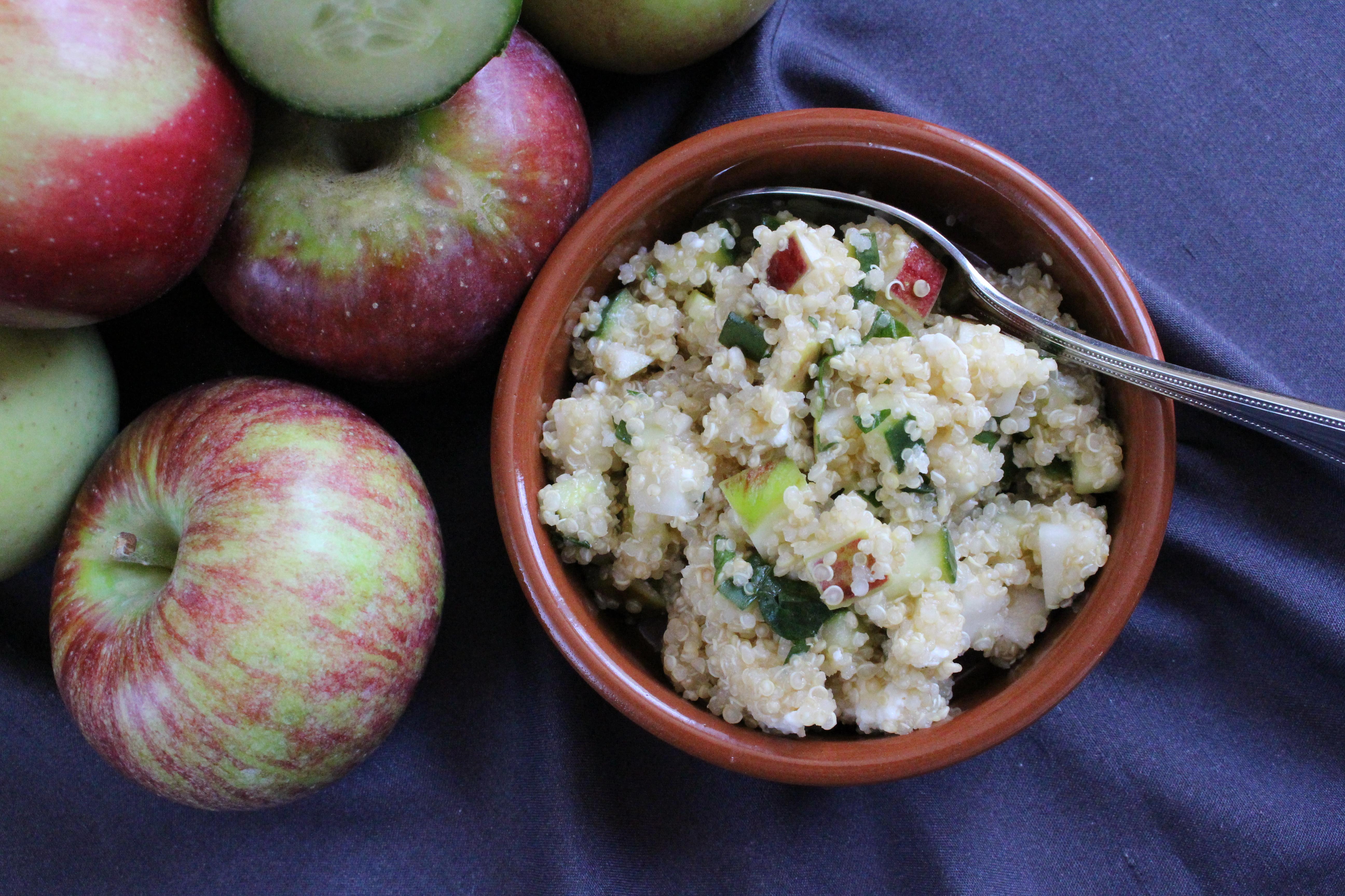 """""""Greek-American"""" Apple Feta Quinoa Salad"""