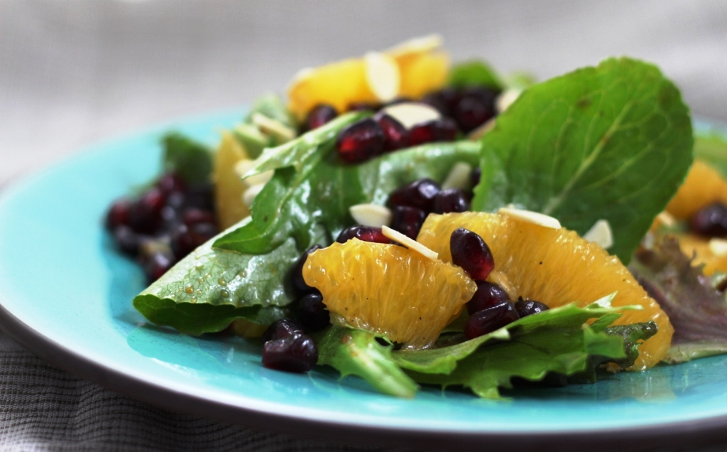 Pomegranate and Orange Salad with Sliced Almonds